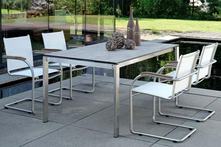 opciones muebles jardin originales sillas mesa acero ideas