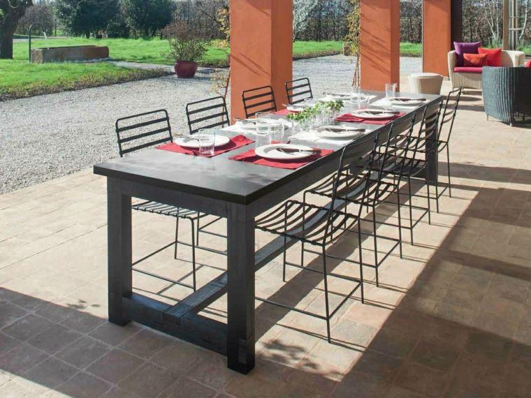 opciones muebles jardin originales sillas negras mesa grande ideas