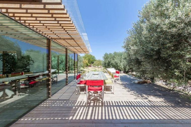 opciones muebles jardin originales sillas rojas ideas