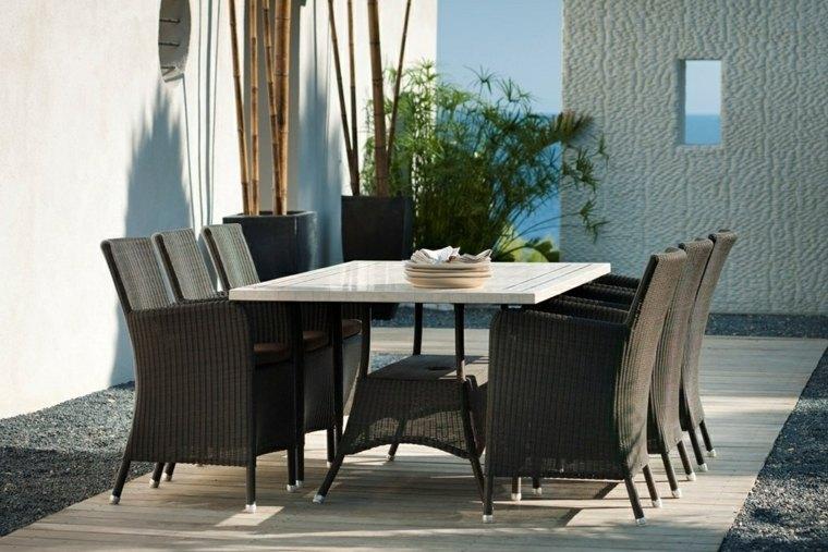 opciones muebles jardin originales sillones negros ideas