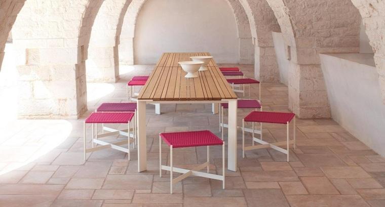 opciones muebles jardin originales taburetes rosa ideas