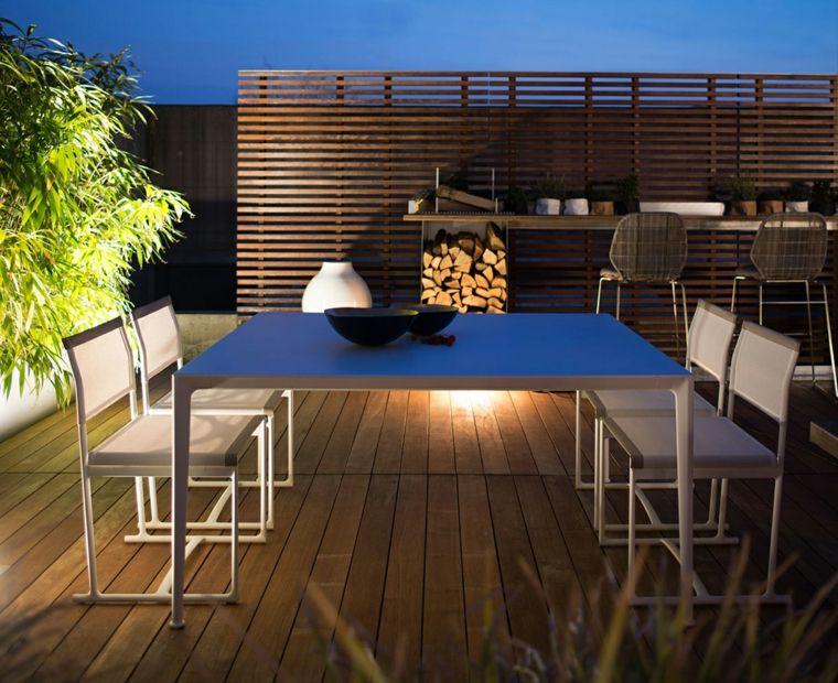 opciones muebles originales terraza suelo valla madera ideas