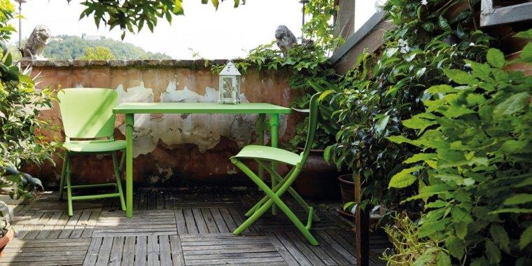 opciones muebles terraza pequena color verde ideas