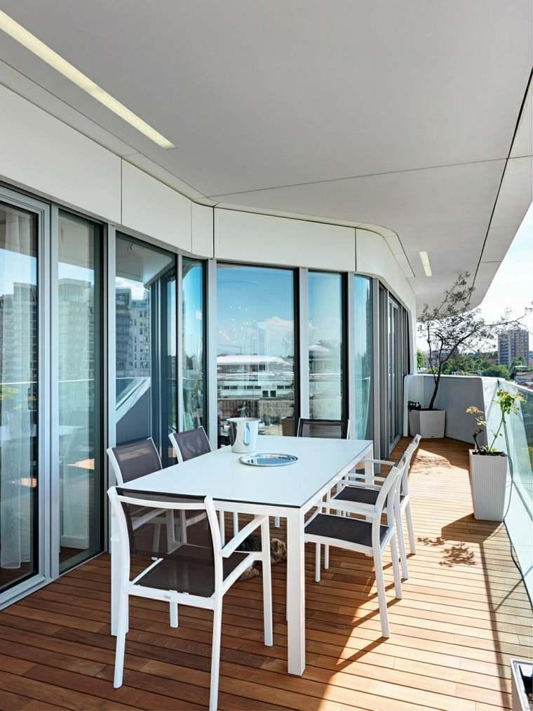 opciones muebles terraza pequena mesa blanca ideas
