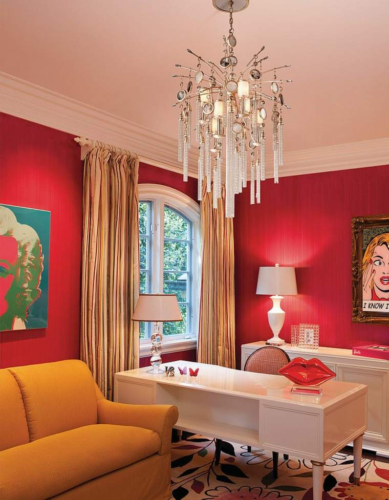 opciones oficina casa escritorio blanco paredes rojas ideas