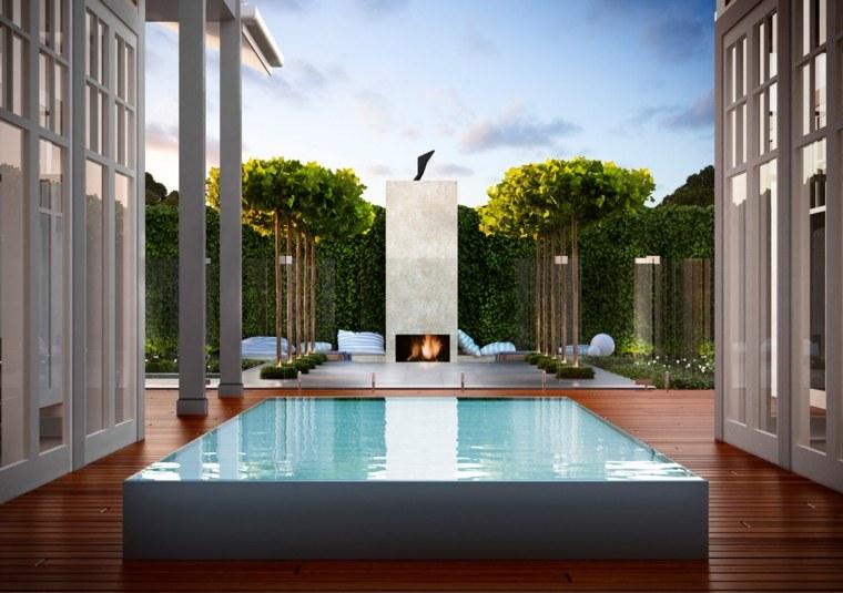 opciones originales diseno chimenea jardin contemporaneo ideas