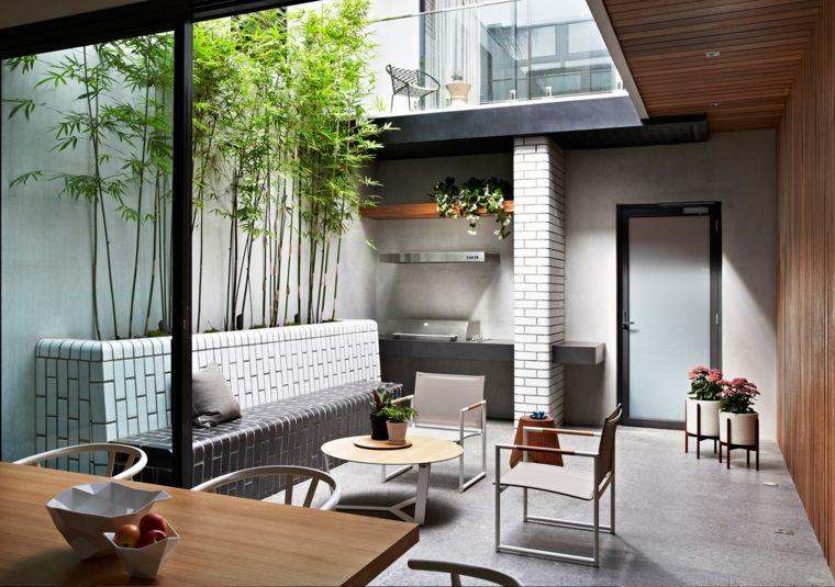 opciones originales diseno jardin pequeno bancos ideas