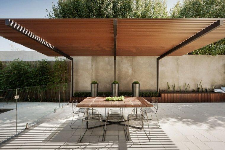 opciones originales diseno jardin pergola mesa ideas