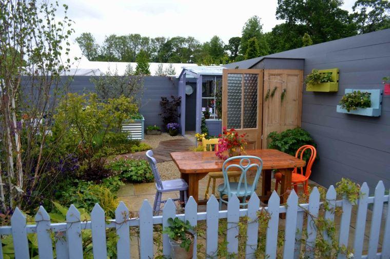 opciones originales diseno valla azul jardin pequeno ideas