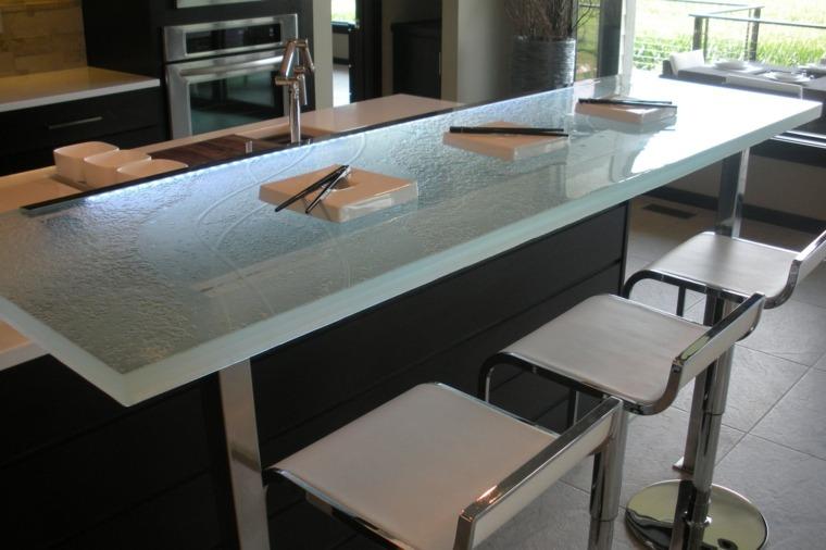 Encimeras De Cocina De Materiales Innovadores 50 Modelos Barras De Cocina  De Cristal