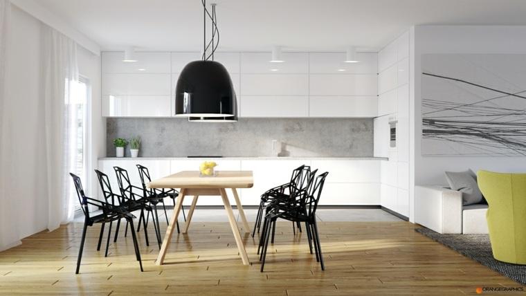 original comedor diseñop sillas negras