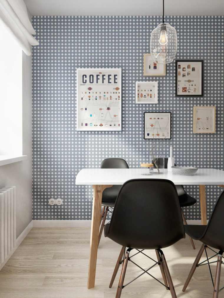 original diseño pared comedor gris