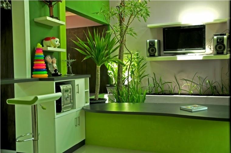 Color verde para la decoraci n de interiores 25 dise os for Disenos de interiores en pintura