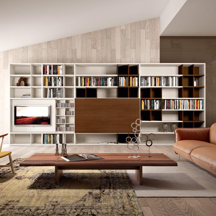 Muebles tv integrados con biblioteca 75 ideas modernas - Estanterias de obra para salon ...