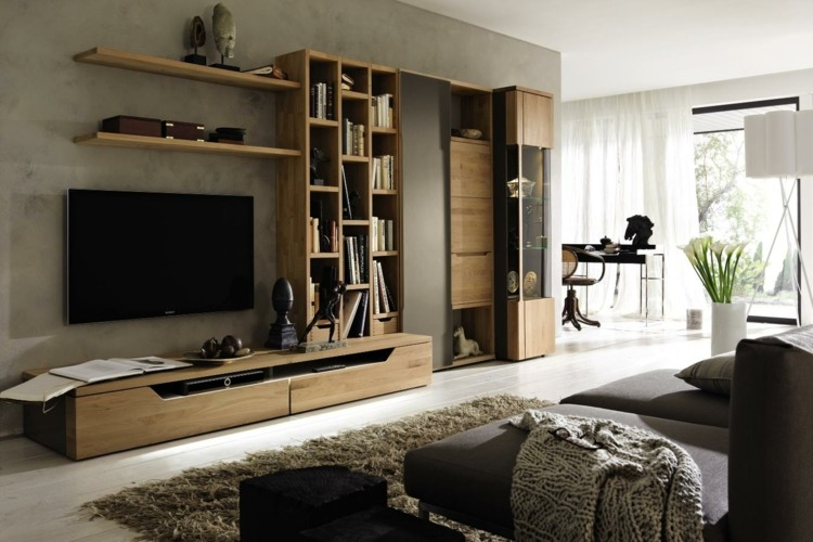 Muebles tv integrados con biblioteca 75 ideas modernas - Muebles salon originales ...