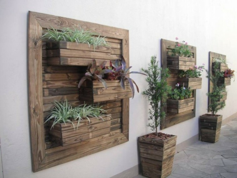 originales jardineras madera deco pared