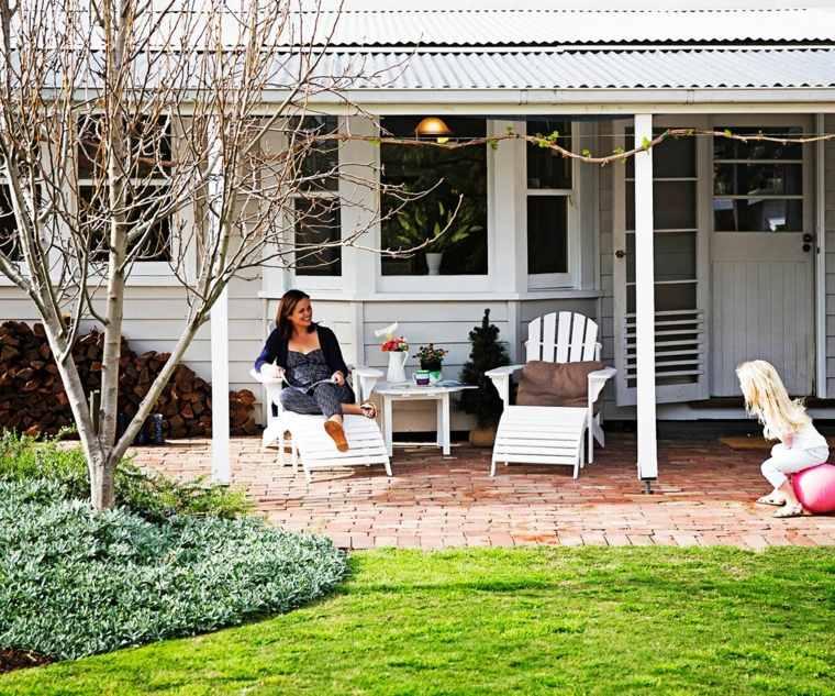paisajes hermosos jardin cesped porche ideas