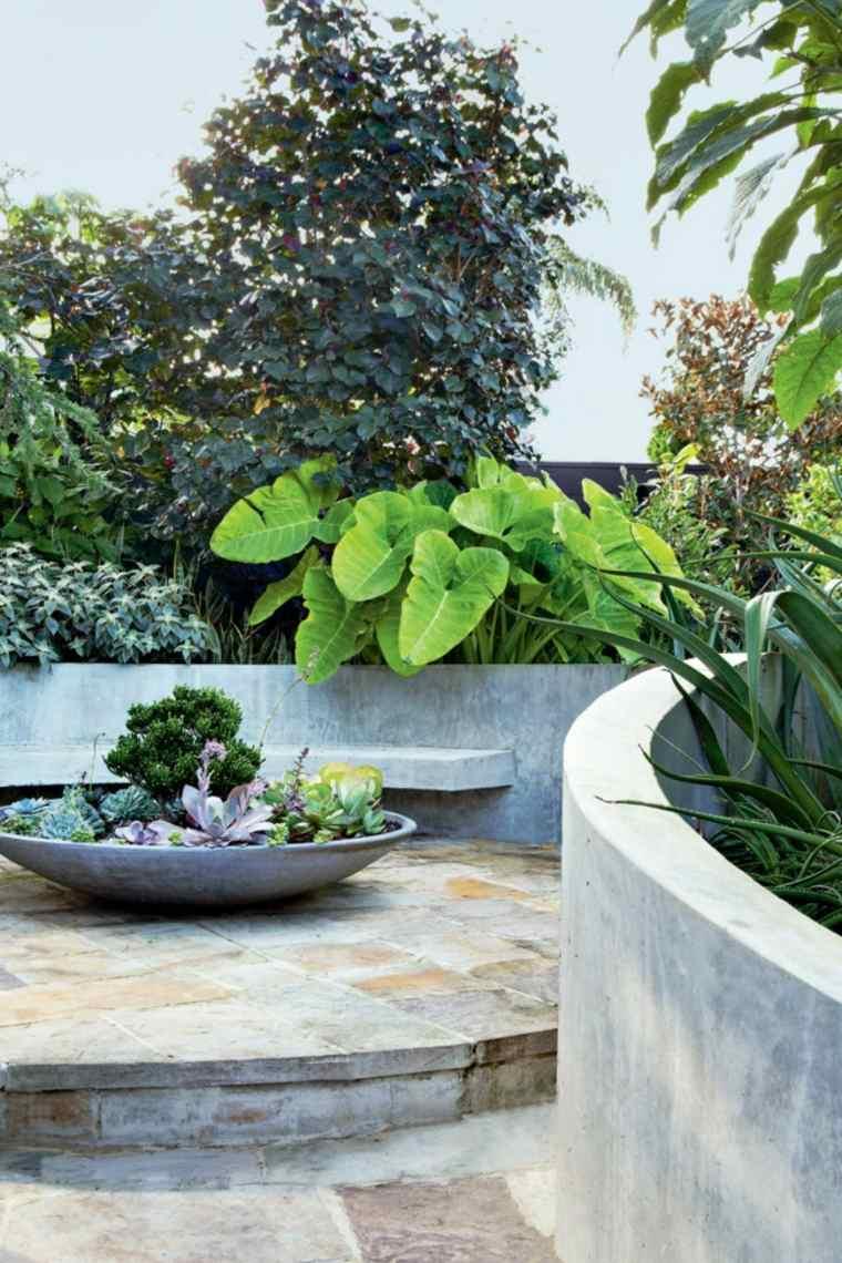paisajes hermosos jardin pequeno banco hormigon ideas