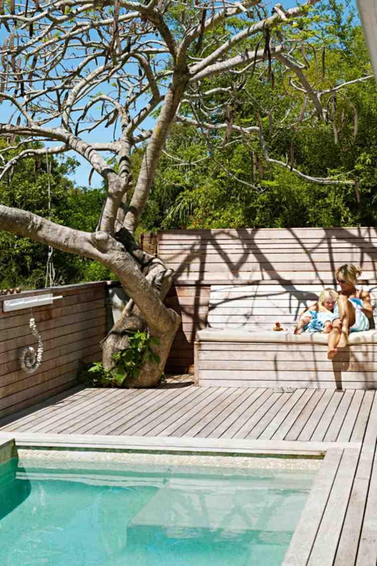 paisajes hermosos jardin pequeno piscina banco madera ideas