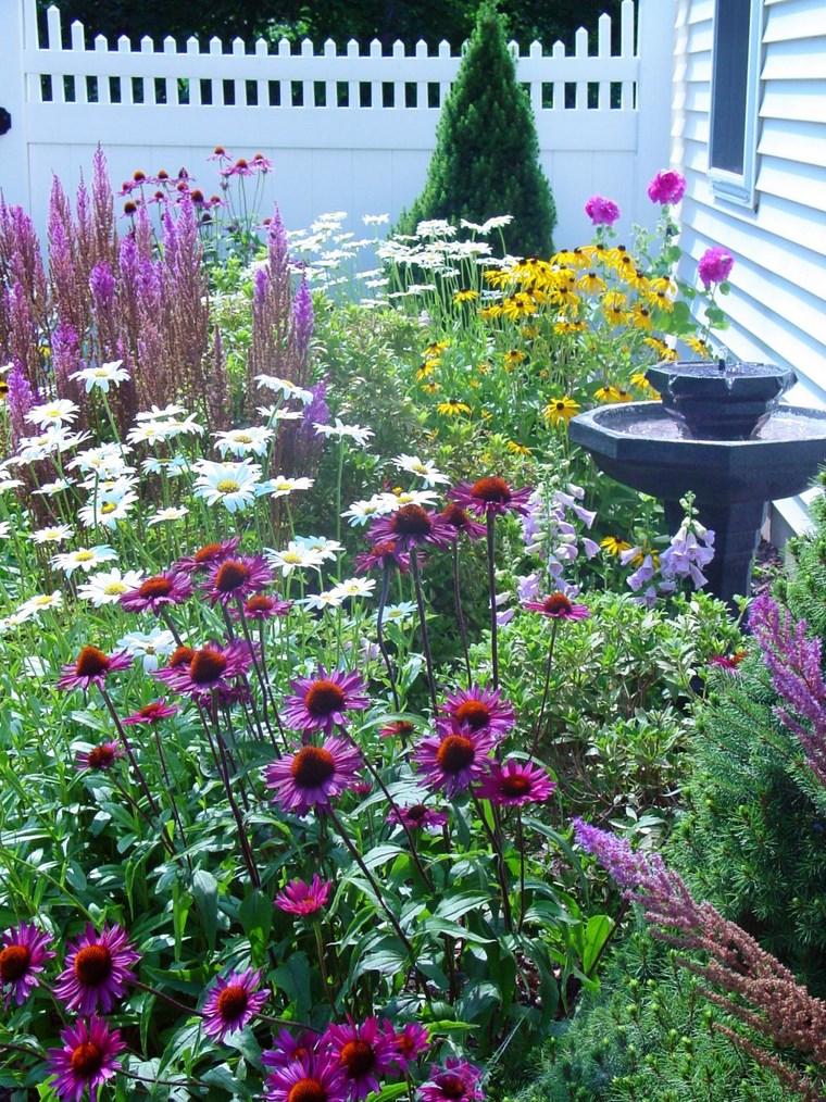 paisajismo flores primavera jardines fuente agua ideas