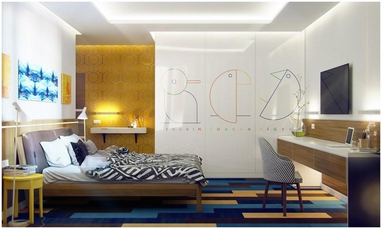 pared dormitorio moderno amarillo llamativo ideas