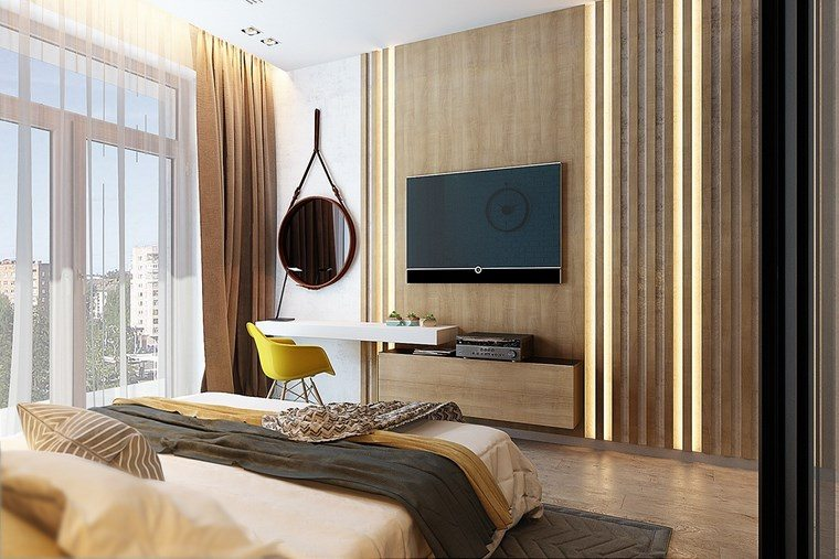 pared dormitorio moderno diseno elegante ideas