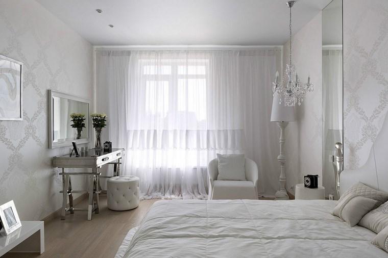 pared dormitorio moderno muebles blanco ideas