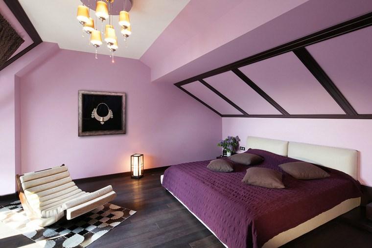 pared dormitorio moderno purpura original ideas