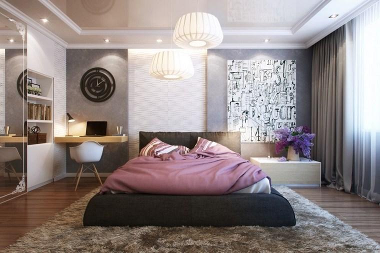 pared dormitorio moderno reloj negro cama grande ideas