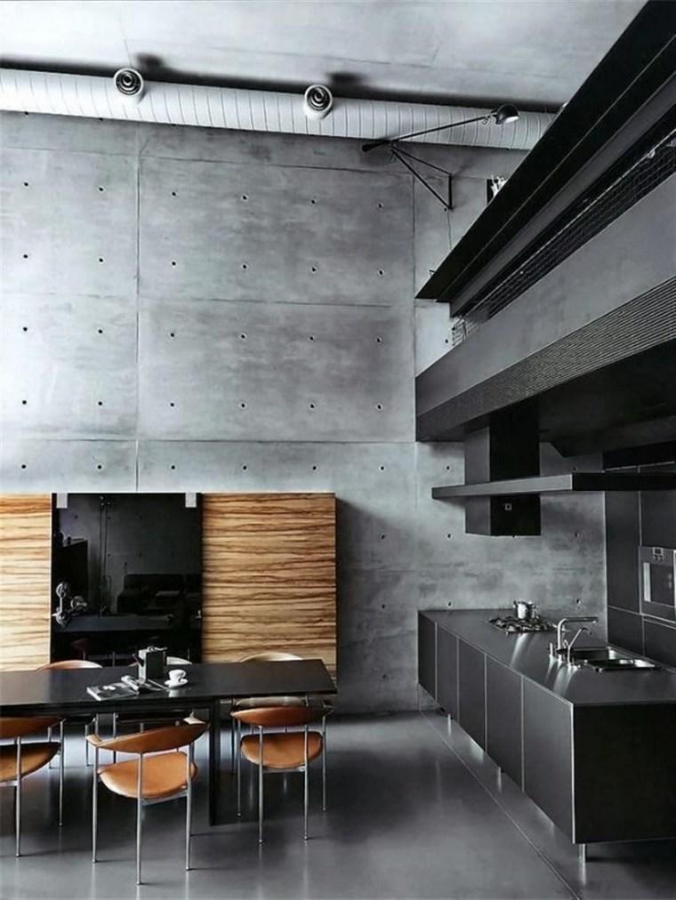 pared hormigon expuesto cocina negra elegante diseno ideas