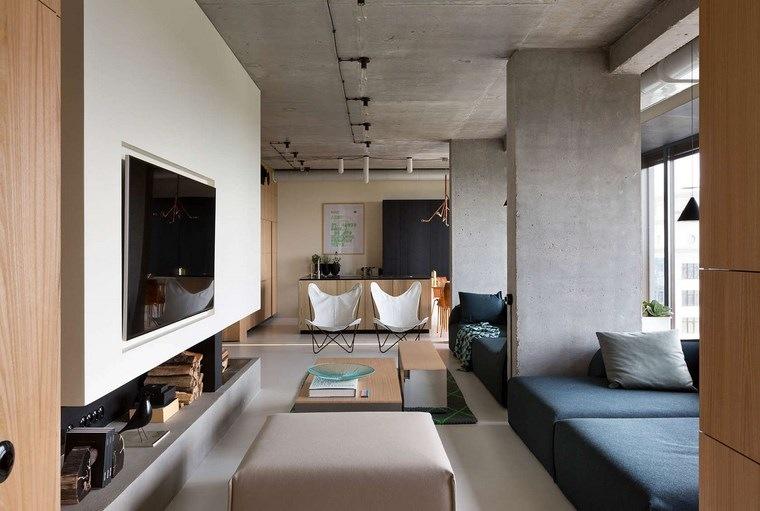 pared hormigon expuesto columnas separar espacios ideas