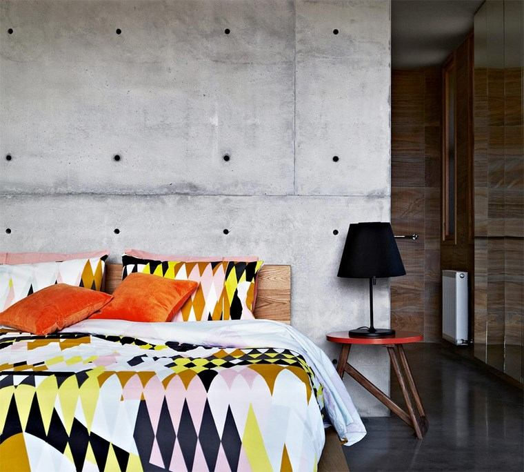 pared hormigon expuesto dormitorio chic ideas