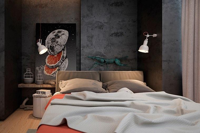 pared hormigon expuesto dormitorio pequeno oscuro ideas