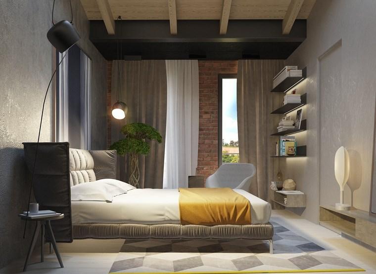 pared hormigon expuesto dormitorio techo alto ideas