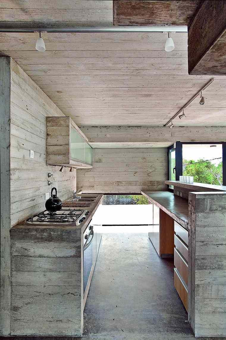pared hormigon expuesto madera cocina ideas