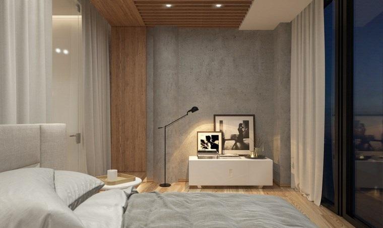 pared hormigon expuesto muebles blancos dormitorios ideas