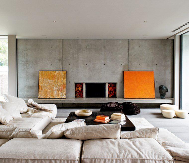 pared hormigon expuesto salon cuadros llamativos ideas
