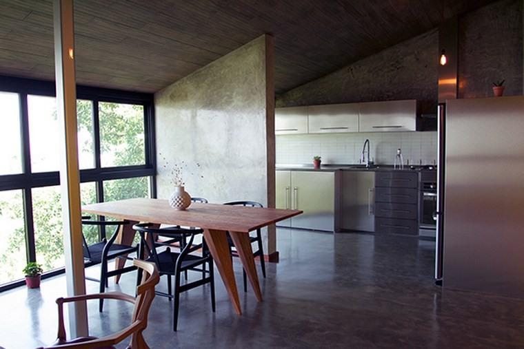 pared hormigon expuesto separa cocina comedor ideas