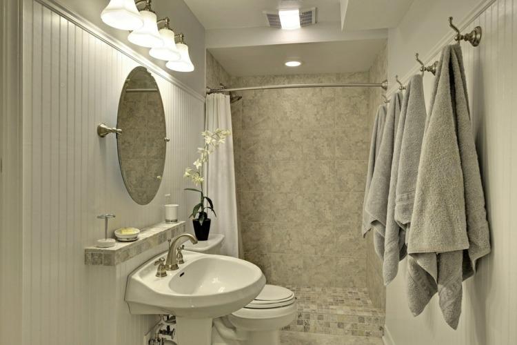 pared madera blanca bano pequeno ducha ideas