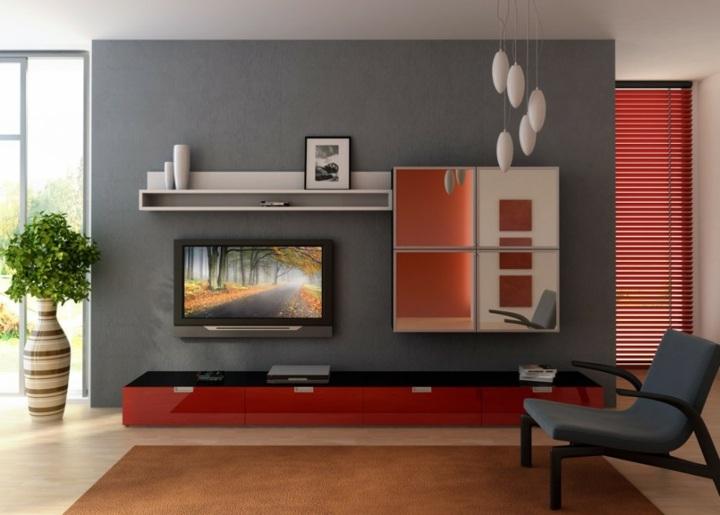 paredes grises tonos personales salas rojo lineas