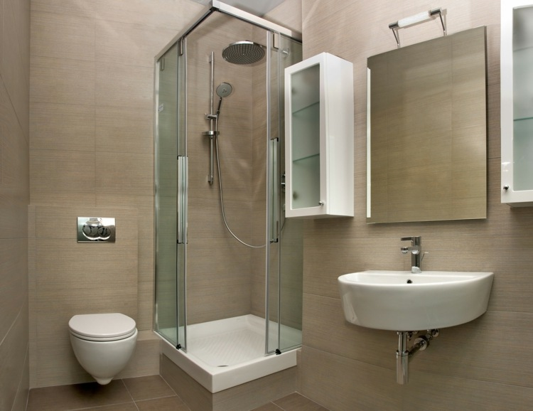 paredes losas imitan madera bano pequeno ducha ideas