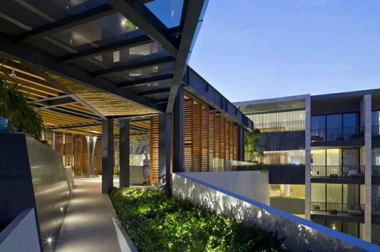 pasillos exteriores lineas diseños led