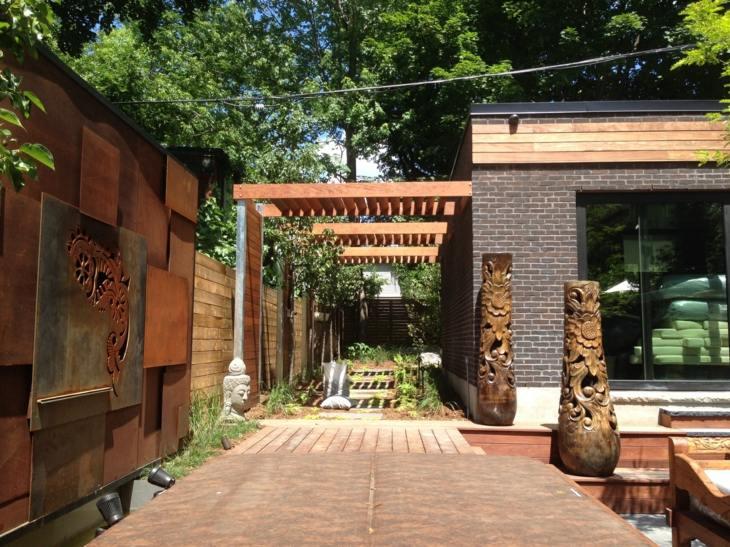 patio fuentes muebles maderas ideas lados