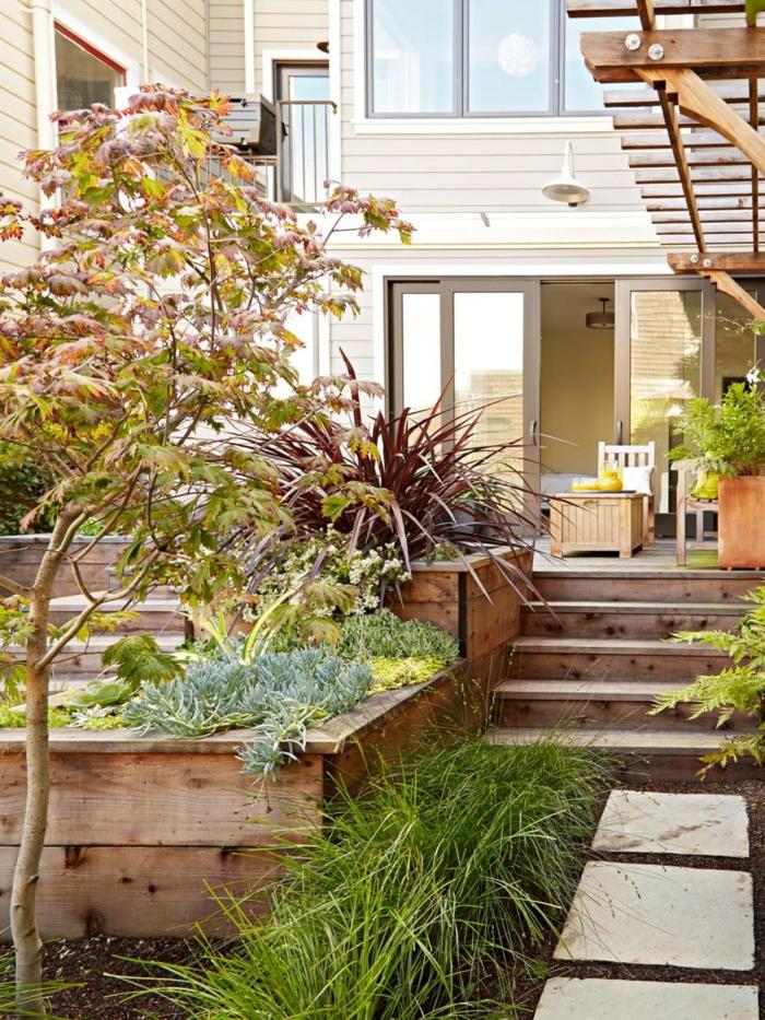 patio salones estantes metales madera
