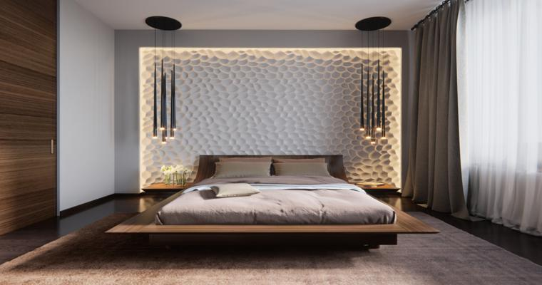cabecero pared relieves luces