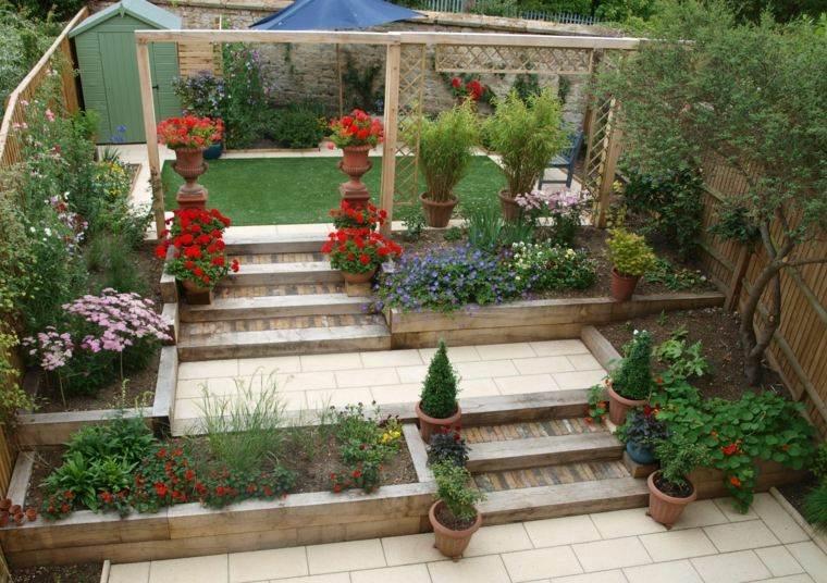 pergola madera jardin diseno colores flores ideas