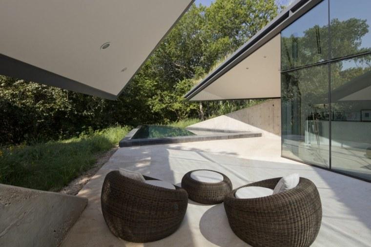 porche terraza cubierta vegetal moderna