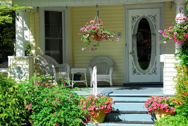porches entrada casa moderna flores ideas