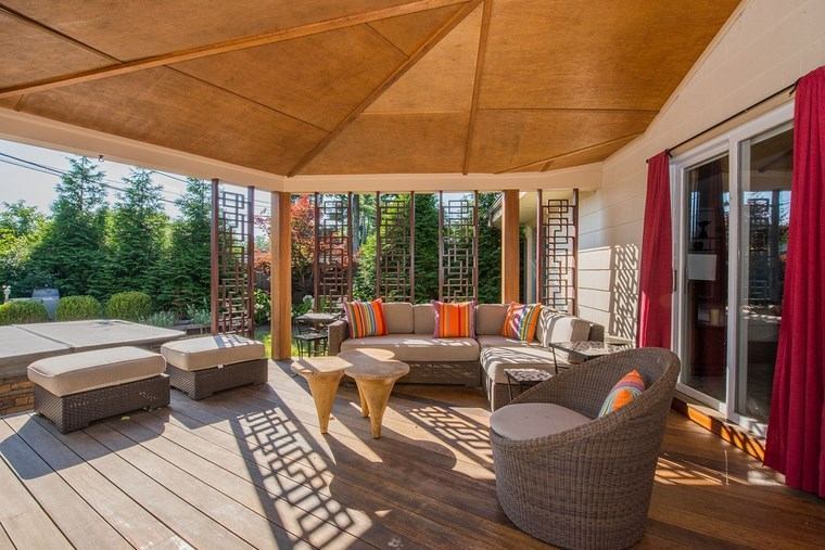 porches entrada casa moderna mesas madera preciosas ideas