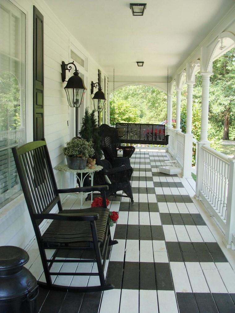 porches entrada casa moderna silla negra ideas